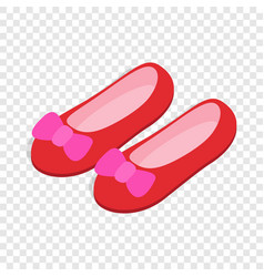 red ballet shoes with pink bows isometric icon vector image