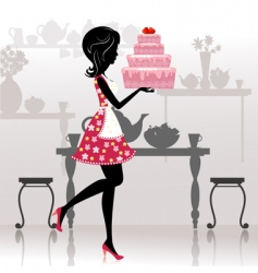 romantic cake vector image vector image