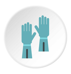 Rubber gloves for hand protection icon circle vector