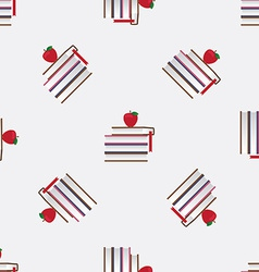Seamless pattern with red apples and books vector image