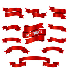 silk red 3d ribbon banners set isolated vector image vector image