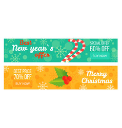 Two sales posters best new year s offer 60 off vector
