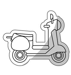 Vespa scooter transport wheels cut line vector