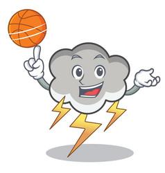 with basketball thunder cloud character cartoon vector image