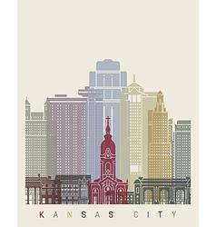 Kansas city skyline poster vector