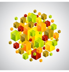 Abstract figure from many colorful 3d cubes vector