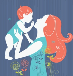 Beautiful mother silhouette vector
