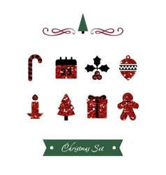 Set of red shiny christmas icons vector