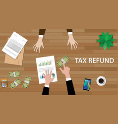 Tax refund concept with two people vector