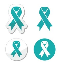 Teal ribbon - ovarian cervical uterine cancer vector
