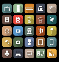 household flat icons with long shadow vector image