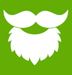 Beard and mustache icon green vector