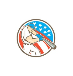 American baseball player batting circle cartoon vector