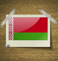 Flags belarus at frame on a brick background vector