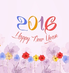 Happy new year 2016 watercolor colorful poppies vector