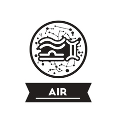 Flat icon in black and white style air sign zodiac vector