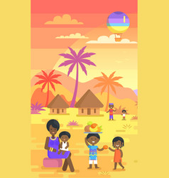 African family spending time outdoors on yard vector