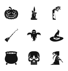 All saints day icons set simple style vector