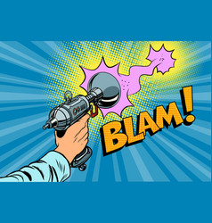 Blam science fiction shot of a blaster comic cloud vector