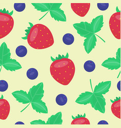 Cartoon fresh strawberry fruits in flat style vector