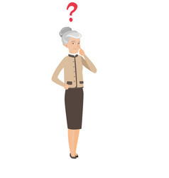 Caucasian business woman with question mark vector
