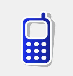 Cell phone sign new year bluish icon with vector
