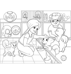 Children coloring cartoon contact zoo vector