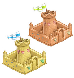 childrens sand castle tower of the fort with flag vector image