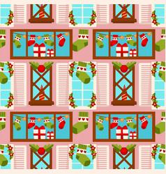 christmas winter holiday gift stocking seamless vector image vector image