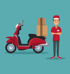 color background with man worker with scooter and vector image
