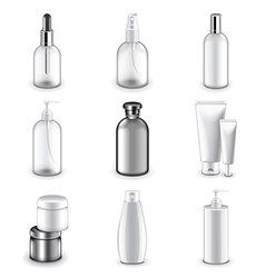 Cosmetic bottles icons set vector image vector image