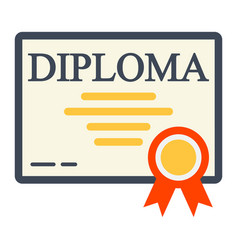 Diploma flat icon education and certificate vector