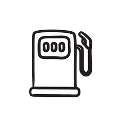 Gas station sketch icon vector