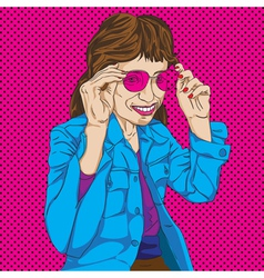 Girl with pink glasses vector image vector image