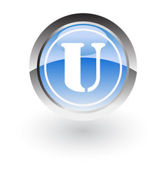 glossy icon letter u vector image vector image