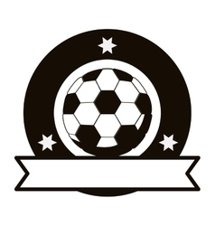 Gray scale emblem with soccer ball and ribbon vector