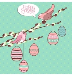 Greeting card with phrase Happy easter and eggs vector image vector image