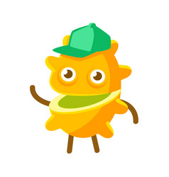 Happy smiling passion fruit in a green cap vector