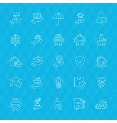 Insurance services line icons polygonal vector