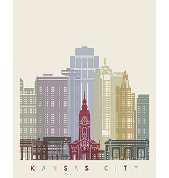 Kansas city skyline poster vector