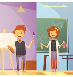 Kids Education 2 Vertical Cartoon Banners vector image