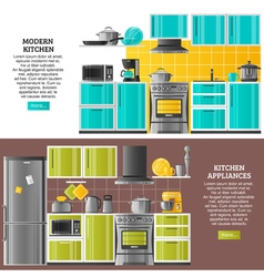 Kitchen Interior Horizontal Banners vector image
