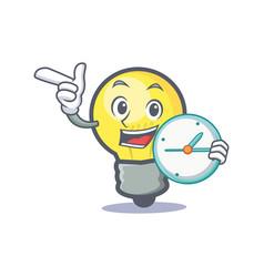 Light bulb character cartoon with clock vector