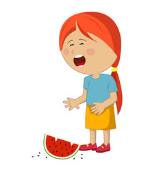 Little girl crying dropped slice of watermelon vector