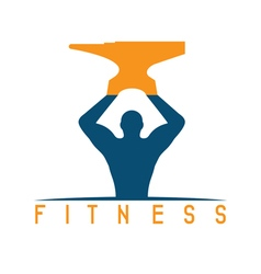 man of fitness silhouette character with anvil vector image vector image