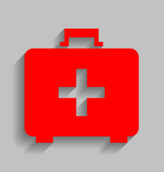Medical first aid box sign red icon with vector