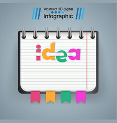 Notepad notebok idea icon abstract infographic vector