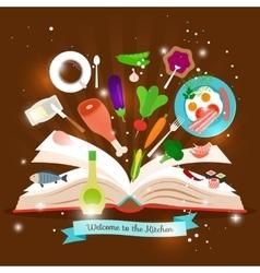 Open cooking book vector