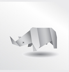 origami rhino vector image vector image