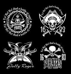 pirates emblem set with pirate spirit flying dutch vector image vector image